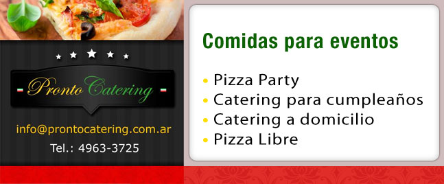 pronto pizza menu, pizzas party a domicilio